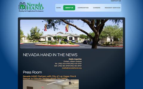 Screenshot of Press Page nevadahand.org - Press Room | Nevada HAND - captured Oct. 9, 2014