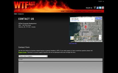 Screenshot of Contact Page wtfast.com - Contact Us - captured Jan. 13, 2016