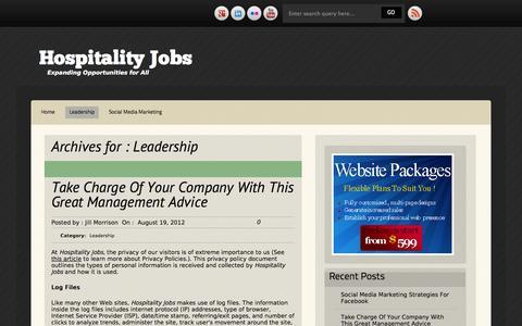 Screenshot of Team Page 4hospitalityjobs.com - Leadership | Hospitality Jobs - captured Oct. 27, 2014