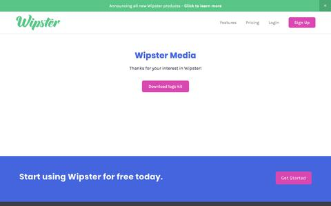 Screenshot of Press Page wipster.io - Wipster Media — Wipster is a video collaboration and publishing platform that enables companies to create and deliver better video, fast - captured April 1, 2018