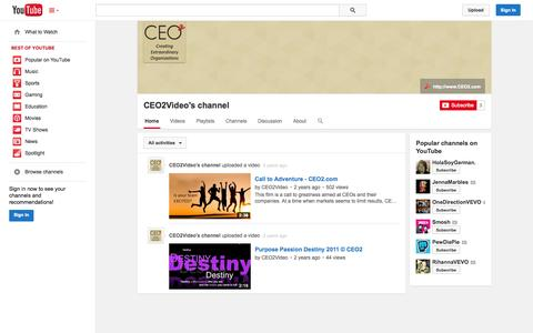 Screenshot of YouTube Page youtube.com - CEO2Video's channel  - YouTube - captured Oct. 22, 2014