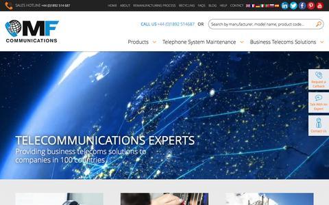 Screenshot of Home Page mfcomm.co.uk - Business Phone, PBX System, System Maintenance - captured Nov. 17, 2016
