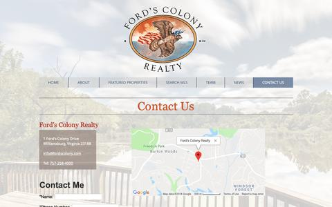 Screenshot of Contact Page fordscolony.com - Contact Us | Williamsburg, VA | Ford's Colony Realty - captured Oct. 10, 2018