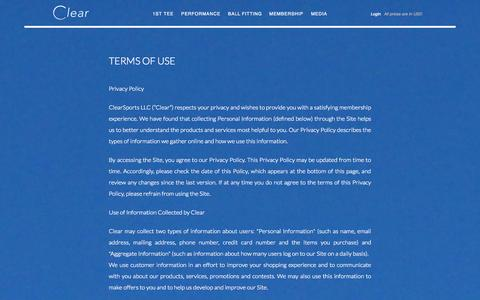 Screenshot of Terms Page clear-golf.com - Terms of Use - Clear Golf - captured Sept. 29, 2014