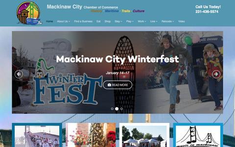 Screenshot of Home Page mackinawchamber.com - Mackinaw City Chamber of Commerce - captured Feb. 2, 2016
