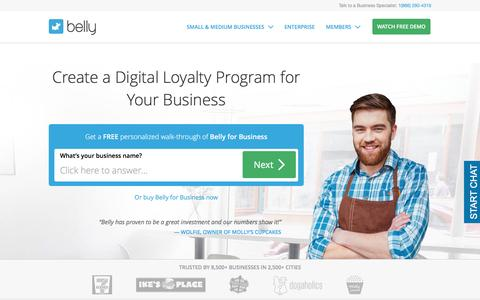 Screenshot of Home Page bellycard.com - Business Customer Loyalty Program | Belly - captured Feb. 5, 2017