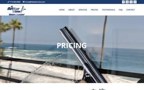 Screenshot of Pricing Page 4abetterview.com - Pricing – A Better View Window Cleaning – Residential Specialist - captured Sept. 22, 2019