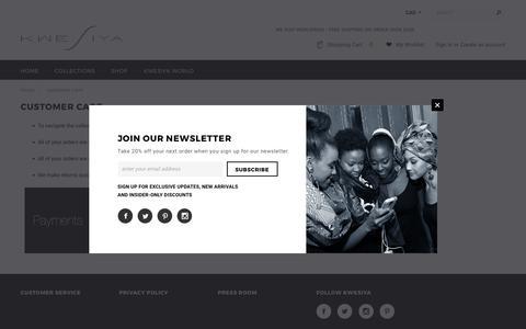 Screenshot of Support Page kwesiya.com - CUSTOMER CARE – KWESIYA - captured June 9, 2017