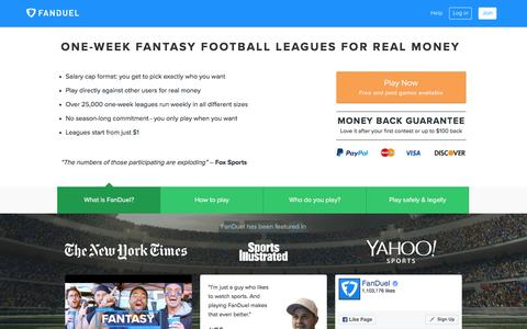 Fantasy Football - One-Week Leagues for Money 	 | FanDuel