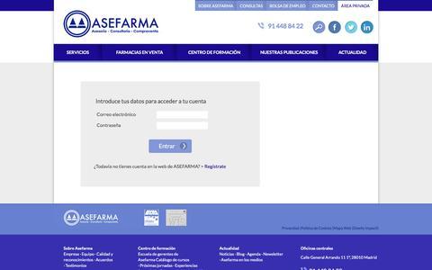 Screenshot of Login Page asefarma.com - Signin |   Asesoría, Consultoría y Compraventa de Farmacias - captured July 26, 2016
