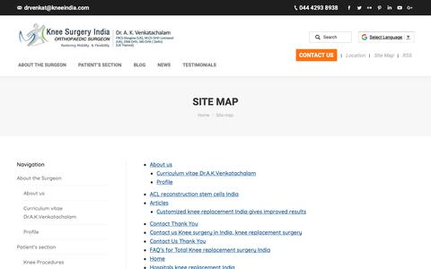 Screenshot of Site Map Page kneeindia.com - Site map - Knee Replacement Surgery India Dr.A.K.Venkatachalam - captured Sept. 30, 2018