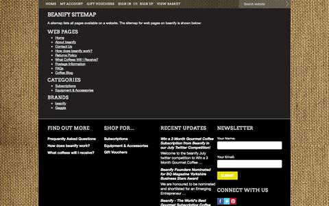 Screenshot of Site Map Page beanify.com - beanify Sitemap - captured Oct. 5, 2014