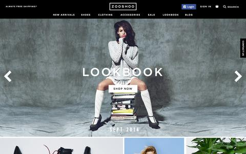 Screenshot of Home Page zooshoo.com - ZOOSHOO - Feed Your Fashion Appetite - captured Sept. 19, 2014