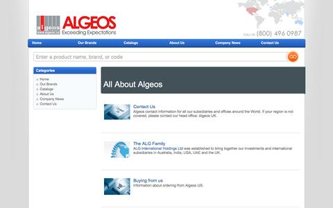 Screenshot of About Page algeos.us - About Algeos - captured March 3, 2016