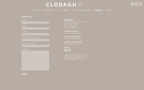 Screenshot of Contact Page clodagh.com - Contact - Clodagh Design - captured Feb. 18, 2018