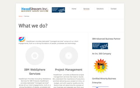 Screenshot of Services Page headstreaminc.com - WebSphere,BPM,WebSphere Commerce and  Portal Consulting - HeadStream - captured Sept. 26, 2014