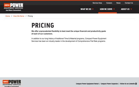 Screenshot of Pricing Page compactserv.com - Pricing | Compact Power Equipment Services - captured Sept. 29, 2018