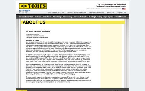 Screenshot of About Page jetomes.com - JE Tomes  |  About Us - captured Oct. 3, 2014