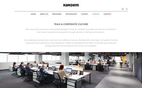 Screenshot of Jobs Page kardem.com - CAREER at KARDEM - become a part of our team - captured Sept. 20, 2018