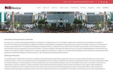 Screenshot of Privacy Page naimexico.com - NAI Mexico | Privacy Policy - captured Aug. 11, 2016
