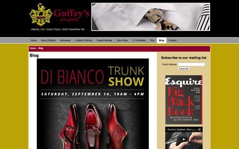 Screenshot of Blog guffeys.com - Guffey's - Atlanta's Finest Specialty Store for Men - Blog - captured Oct. 3, 2014