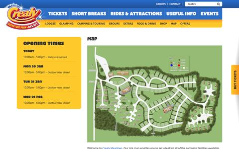Screenshot of Maps & Directions Page crealy.co.uk - Campsite Map | Crealy Meadows | Crealy.co.uk - captured Jan. 29, 2017