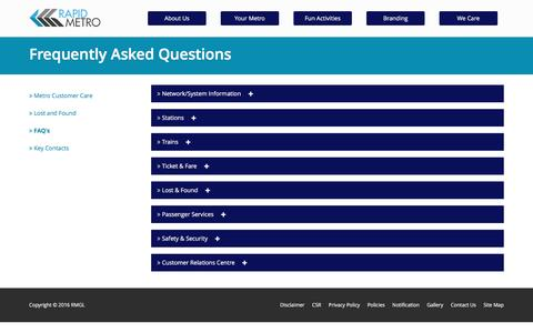 Screenshot of FAQ Page rapidmetrogurgaon.com - faq rapid metro | know more about rapid metro gurgaon - captured Oct. 3, 2016