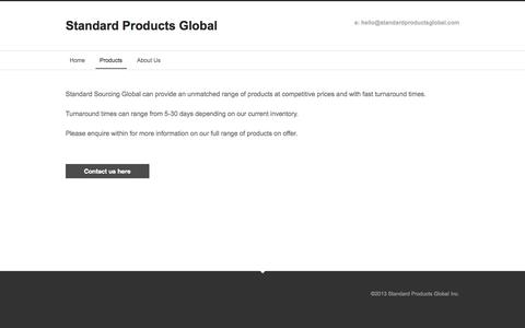 Screenshot of Products Page standardsourcingglobal.com - Products - Standard Products Global - captured Oct. 7, 2014
