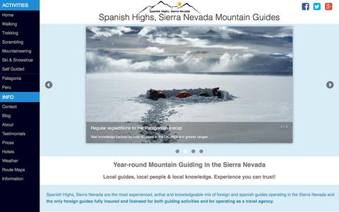 Screenshot of About Page spanishhighs.co.uk - Sierra Nevada Mountain Guides - captured Oct. 2, 2015