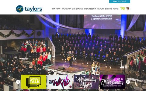 Screenshot of Home Page taylorsfbc.org - Home - Taylors First Baptist Church | Worship / Grow / Serve / Share - captured Feb. 18, 2016