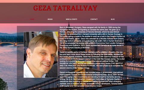 Screenshot of Home Page gezatatrallyay.com - Geza Tatrallyay / Author / Books - captured Oct. 8, 2015