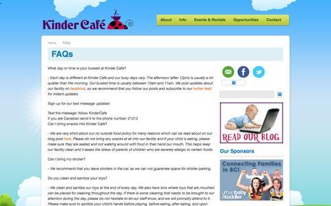 Screenshot of FAQ Page kindercafe.ca - FAQs   Kinder Cafe - captured Nov. 27, 2016