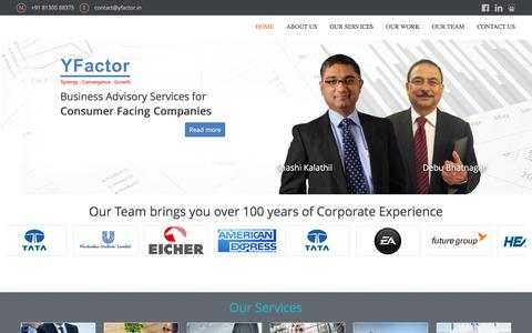 Screenshot of Home Page yfactor.in - YFactor :: FMCG, CPG, Management Consultant, Management Advisory, India, Amritt, Distribution, Marketing, Consultancy, Supply Chain, HR, Strategy, Strategic Consultants :: - captured Feb. 3, 2016