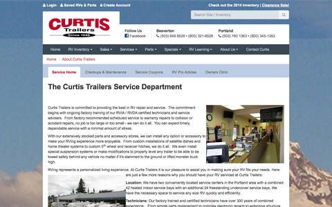 Screenshot of Services Page curtistrailers.com - RV Service Department - Curtis Trailers - Portland, Oregon - captured Oct. 3, 2014