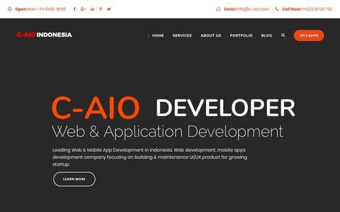 Screenshot of Home Page c-aio.com - Web & Mobile App Development Company | C-AIO Indonesia - captured Sept. 25, 2018