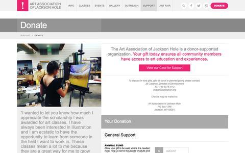 Screenshot of Support Page artassociation.org - Donate - Art Association of Jackson HoleArt Association of Jackson Hole - captured Nov. 24, 2018