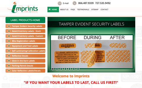 Screenshot of Home Page imprints.com - Fixed Asset & Inventory Tags, Security Labels & Reflective Decals - Imprints - captured Oct. 14, 2017