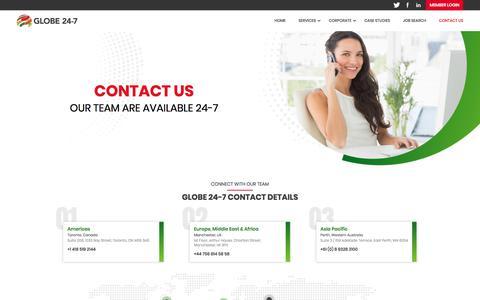 Screenshot of Contact Page globe24-7.com - Contact Us | Globe 24-7 - captured July 21, 2018