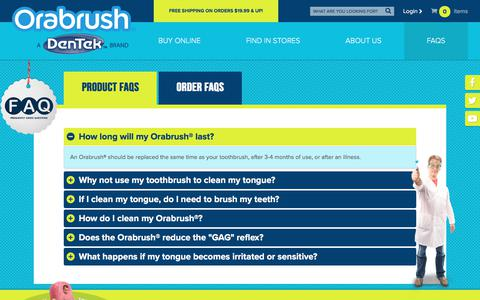 Screenshot of FAQ Page orabrush.com - Product FAQs | Orabrush Tongue Cleaner - captured June 22, 2017