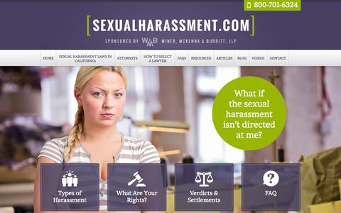 Screenshot of Home Page sexualharassment.com - Sexual Harassment Lawyers | Winer, McKenna & Burritt - captured Sept. 1, 2015