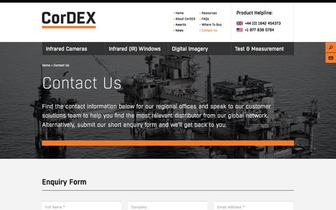 Screenshot of Contact Page cord-ex.com - Contact Us - Cordex - captured Nov. 2, 2014