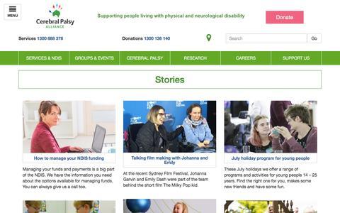 Screenshot of Blog Press Page cerebralpalsy.org.au - Stories | Cerebral Palsy Alliance - captured July 23, 2017