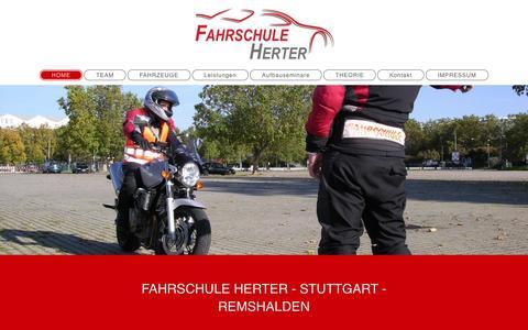 Screenshot of Home Page fahrschule-herter.de - Fahrschule Herter in Stuttgart - HOME - captured June 10, 2016