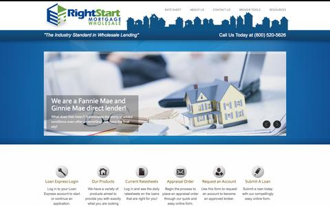 Screenshot of Home Page rsmwholesale.com - Right Start Mortgage - Wholesale Division - captured Oct. 6, 2014