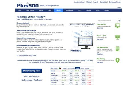 Plus500 | Plus500 Indices | Online CFDs trading of major world indices