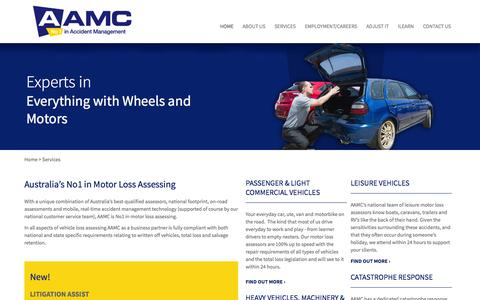 Screenshot of Services Page aamcommercial.com.au - Services - AAMC – No 1 in Accident Management - captured Oct. 4, 2014