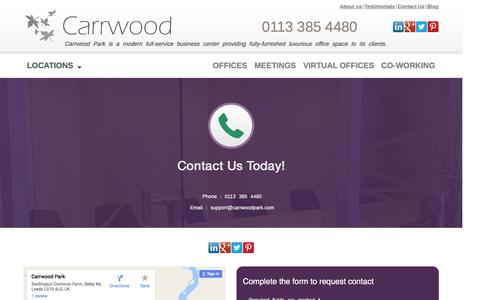 Screenshot of Contact Page carrwoodpark.com - Contact us for all your business needs! - captured Oct. 25, 2016
