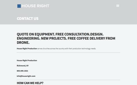 Screenshot of Contact Page houseright.com - Contact Us | House Right Production - captured Oct. 3, 2014