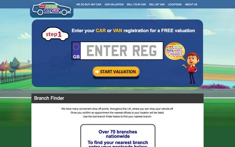 Screenshot of Locations Page wewantanycar.com - Find the We Want Any Car locations nearest to you - captured Oct. 26, 2014