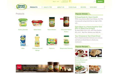 Screenshot of Products Page smartbalance.com - Our Range of Heart-Healthier Products | Smart Balance - captured Oct. 31, 2014